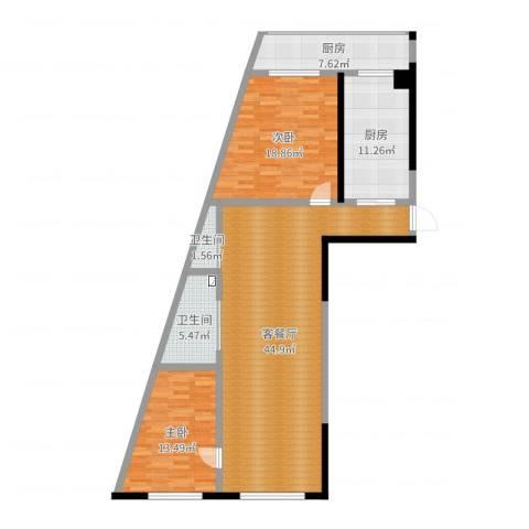 丽水蓝天2室2厅2卫2厨129.00㎡户型图