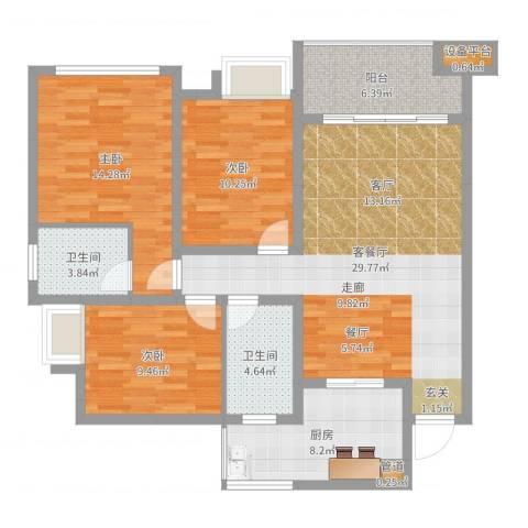 奥林匹克花园红城3室2厅2卫1厨110.00㎡户型图