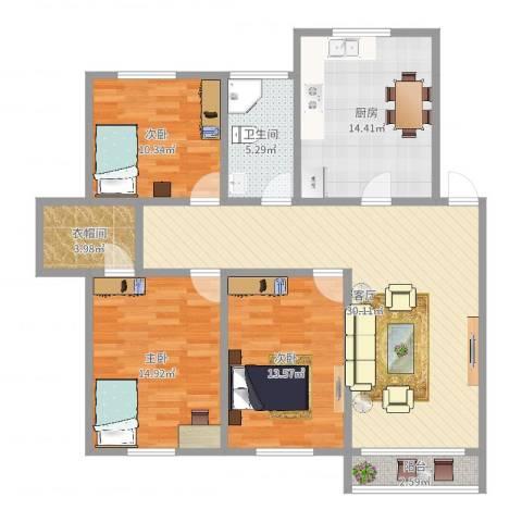 新青浦花苑3室1厅1卫1厨119.00㎡户型图