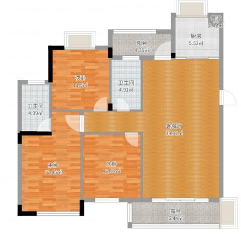 康华・心海湾3室2厅2卫1厨134.00㎡户型图