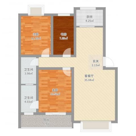新新家园3室2厅2卫1厨107.00㎡户型图