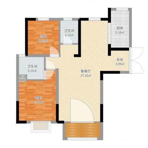 宏润花园2室2厅2卫1厨96.00㎡户型图