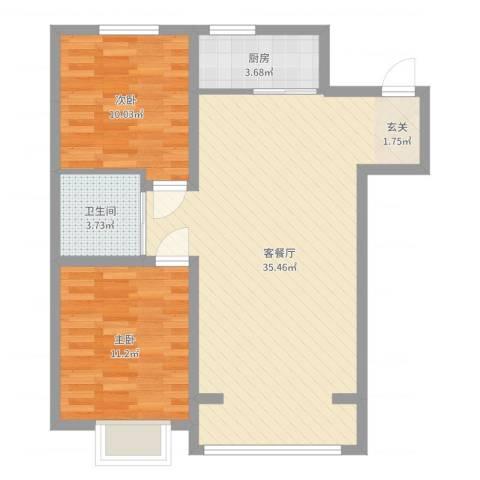 中国铁建梧桐苑2室2厅1卫1厨80.00㎡户型图