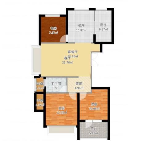 星月花园3室2厅1卫1厨106.00㎡户型图