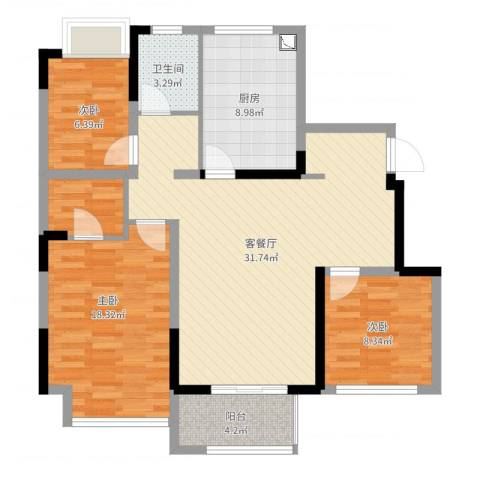 津西美墅馆3室2厅1卫1厨102.00㎡户型图
