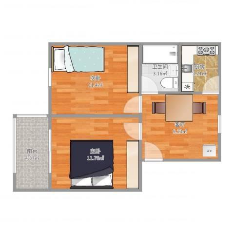 万寿新村2室1厅1卫1厨54.00㎡户型图