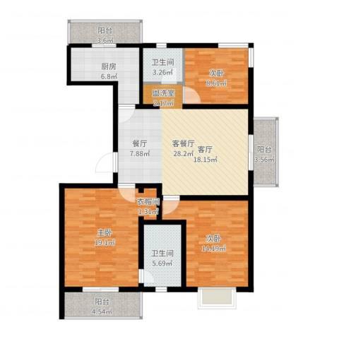 富水一方3室2厅2卫1厨122.00㎡户型图