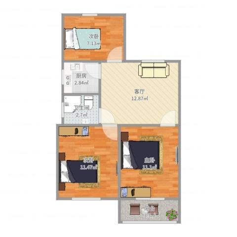 万寿新村五区3室1厅1卫1厨64.00㎡户型图