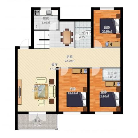 富都丽景3室1厅2卫1厨126.00㎡户型图