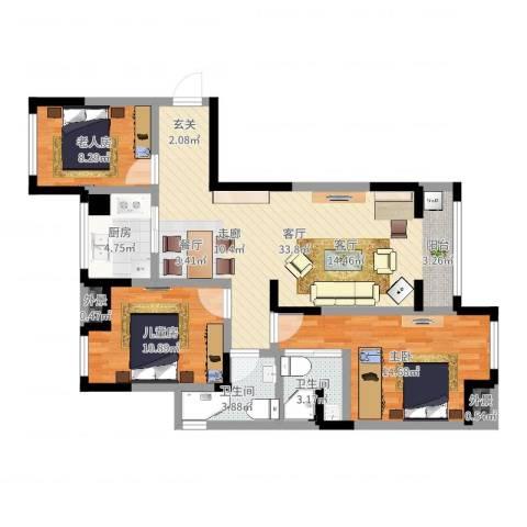 万和华府3室1厅2卫1厨101.00㎡户型图