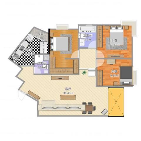 江山多娇滨江花园2室1厅2卫1厨106.00㎡户型图