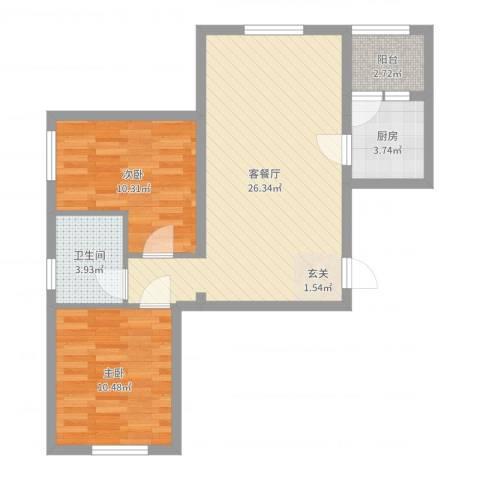 银都海棠花园9号楼2室2厅1卫1厨72.00㎡户型图