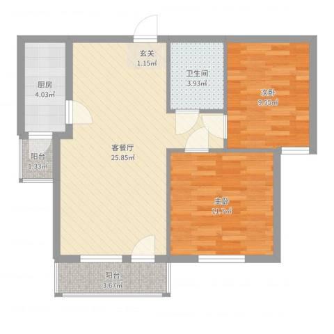 银都海棠花园9号楼2室2厅1卫1厨75.00㎡户型图