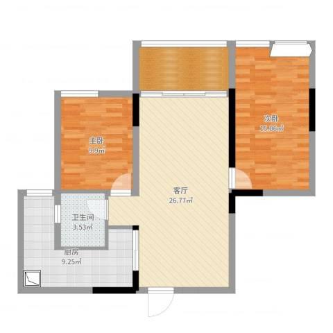 金科公园王府2室1厅1卫1厨88.00㎡户型图
