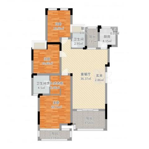万硕・江城一品3室2厅2卫1厨132.00㎡户型图