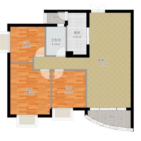世纪金源御府3室2厅1卫1厨103.00㎡户型图