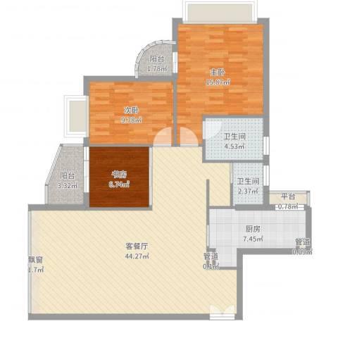 碧水明筑3室2厅2卫1厨121.00㎡户型图