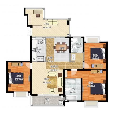 湘江世纪城聚江苑3室2厅2卫1厨137.00㎡户型图