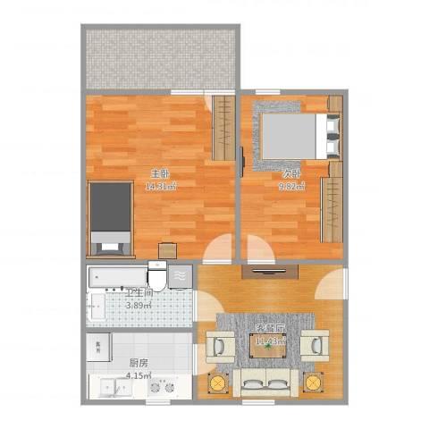 花园新村2室2厅1卫1厨61.00㎡户型图