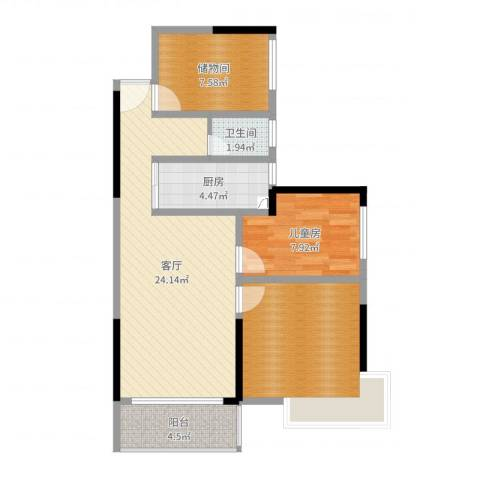 凯旋美域1室1厅1卫1厨78.00㎡户型图