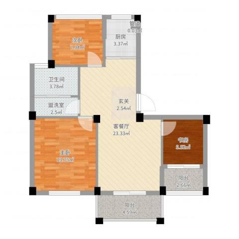 越通美院3室2厅1卫1厨83.00㎡户型图