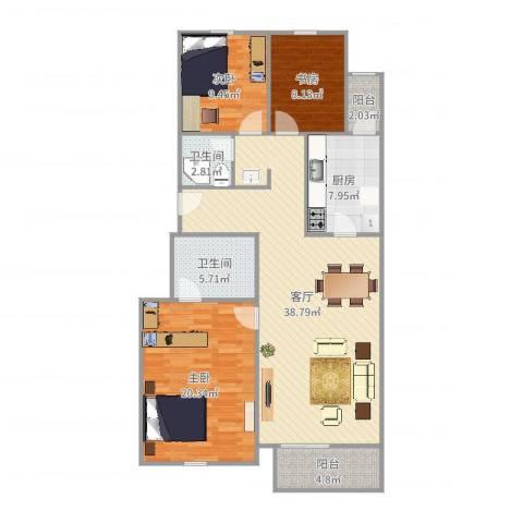 银河小区15号3室1厅2卫1厨125.00㎡户型图