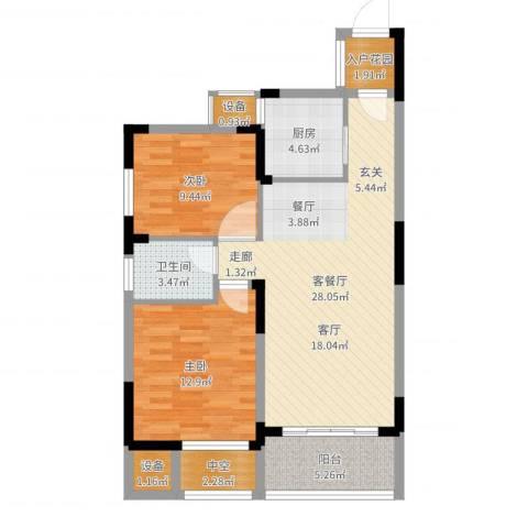 中州国际花园2室2厅1卫1厨88.00㎡户型图