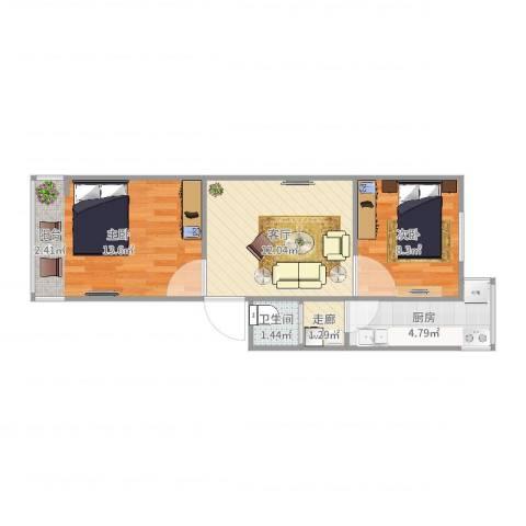 管道局八区2室1厅1卫1厨52.00㎡户型图