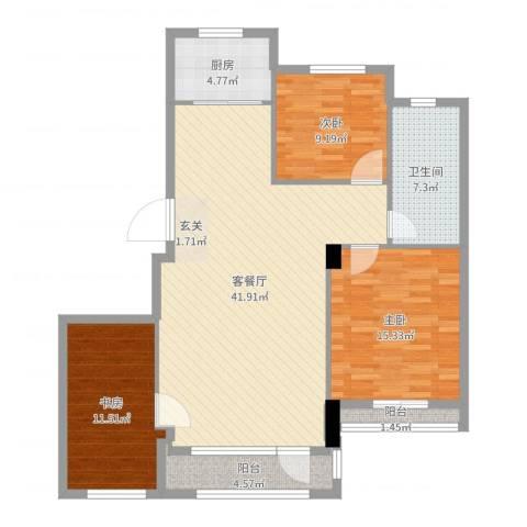神仙树3号院3室2厅1卫1厨120.00㎡户型图
