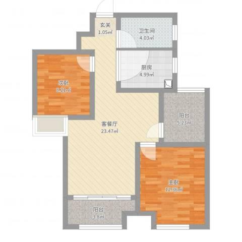 农房・名宿华府2室2厅1卫1厨78.00㎡户型图
