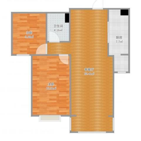 日光清城2室2厅1卫1厨90.00㎡户型图