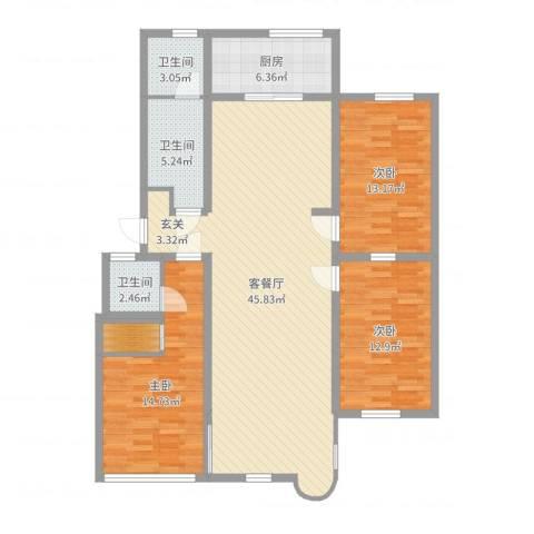 康乐园3室2厅3卫1厨132.00㎡户型图