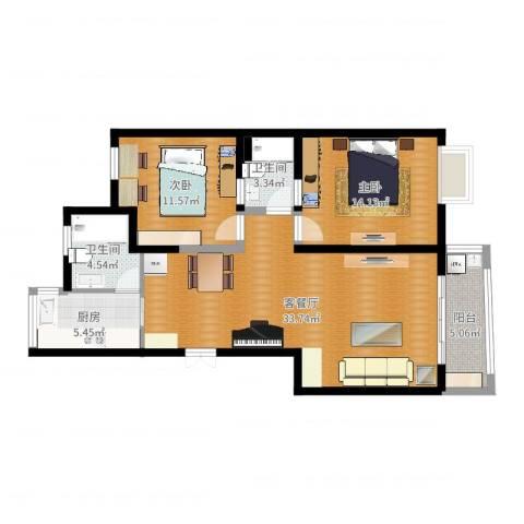 由由新邸12室2厅2卫1厨97.00㎡户型图