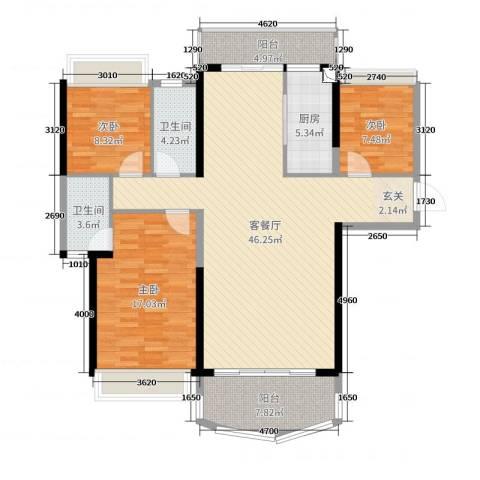凯旋豪庭3室2厅2卫1厨133.00㎡户型图