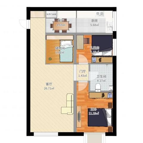 京江华府2室2厅1卫1厨83.00㎡户型图