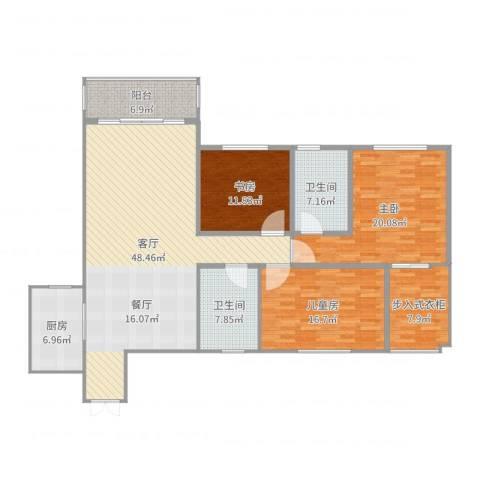 山水文苑3室1厅2卫1厨167.00㎡户型图