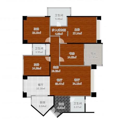 京基滨河时代大厦4室1厅3卫1厨224.00㎡户型图