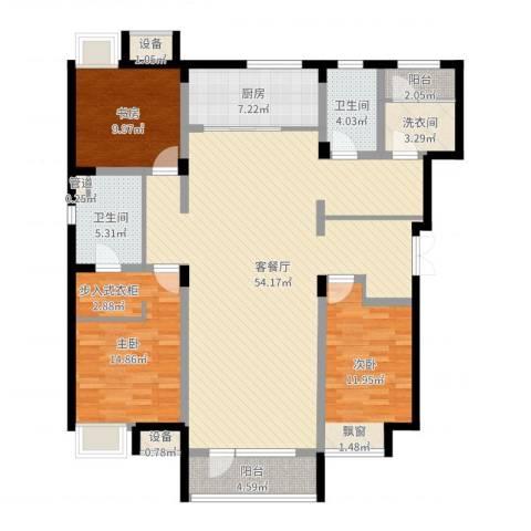 紫荆花园3室2厅2卫1厨149.00㎡户型图