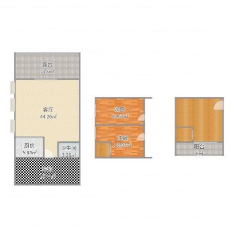 碧堤湾畔2室1厅1卫1厨184.00㎡户型图