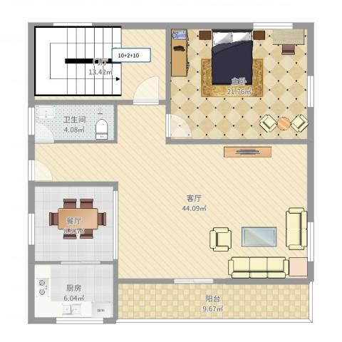 IOI棕榈城1室2厅1卫1厨134.00㎡户型图