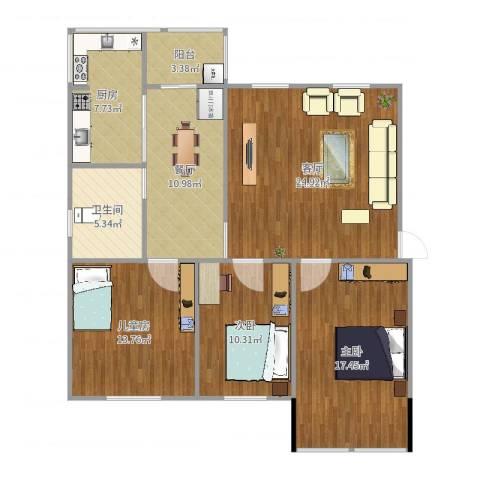 顺义区裕龙花园一区3室2厅1卫1厨117.00㎡户型图