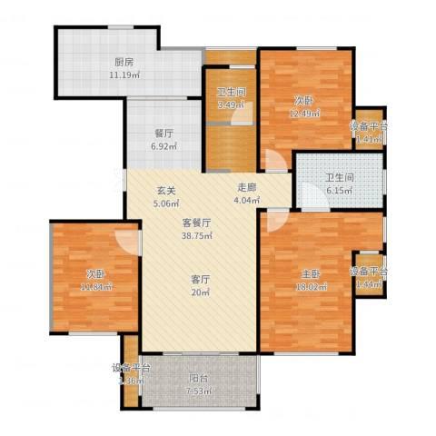 映像江南3室2厅2卫1厨143.00㎡户型图