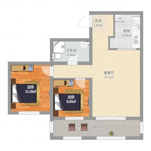 凡尔赛观邸2室2厅1卫1厨82.00㎡户型图