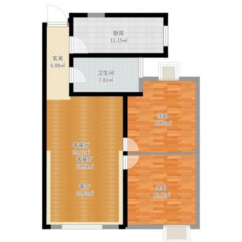 长江越领2室2厅1卫1厨113.00㎡户型图