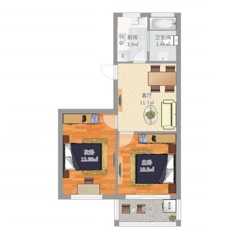 园丁小区2室1厅1卫1厨57.00㎡户型图