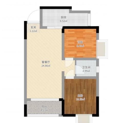 綦江金域蓝湾2室2厅1卫1厨72.00㎡户型图