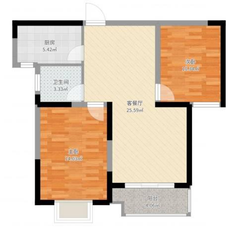 宏润花园2室2厅1卫1厨78.00㎡户型图