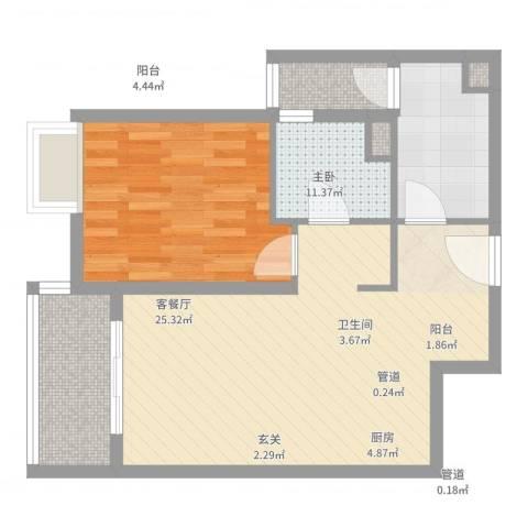 世茂世界湾1室2厅1卫1厨65.00㎡户型图