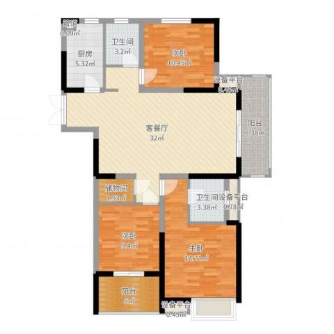 国耀花半里3室2厅2卫1厨117.00㎡户型图