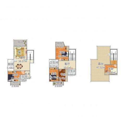 环湖花园5室2厅3卫1厨264.00㎡户型图